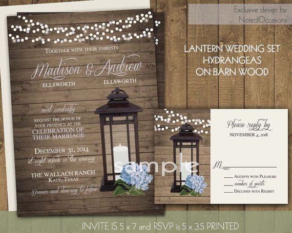 Lantern Wedding Invitations Set Rustic Lantern Wedding ...