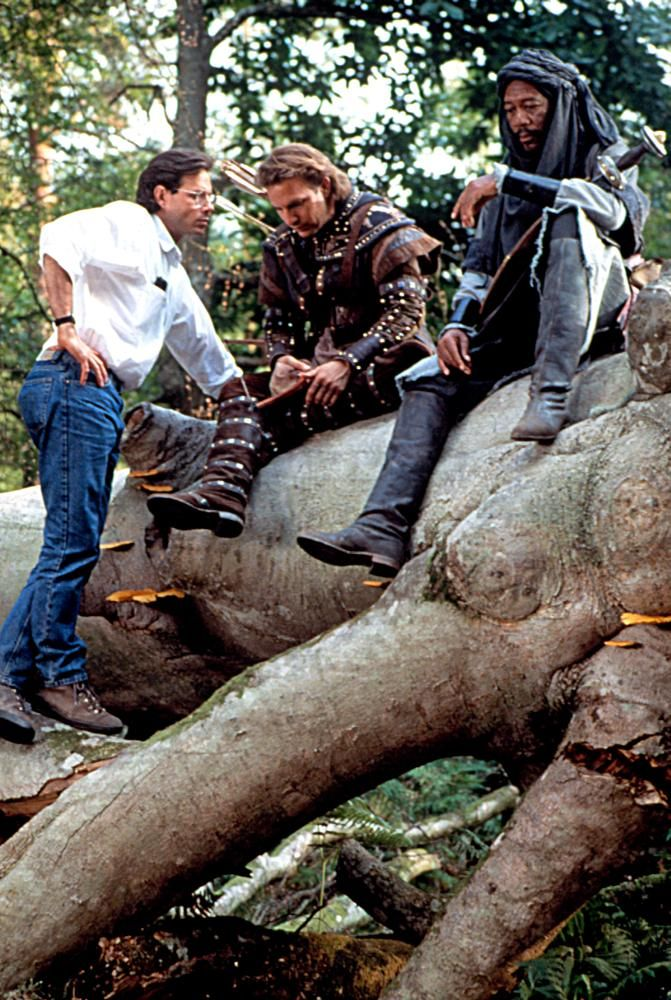 Director Kevin Reynolds, Kevin Costner & Morgan Freeman on the set of Robin Hood: Prince of Thieves (1991)