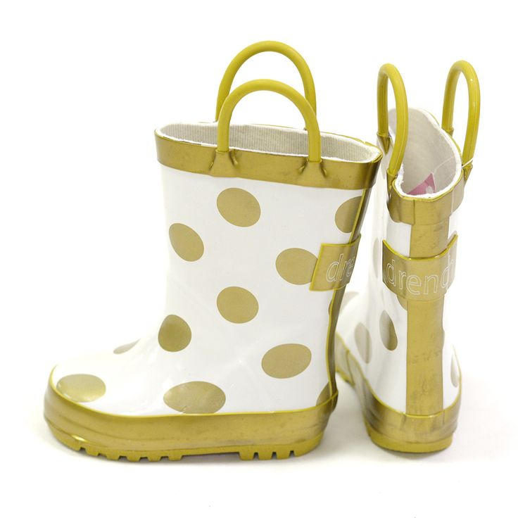 Rainboots in Gold Dots $39.95 www.poetickids.com