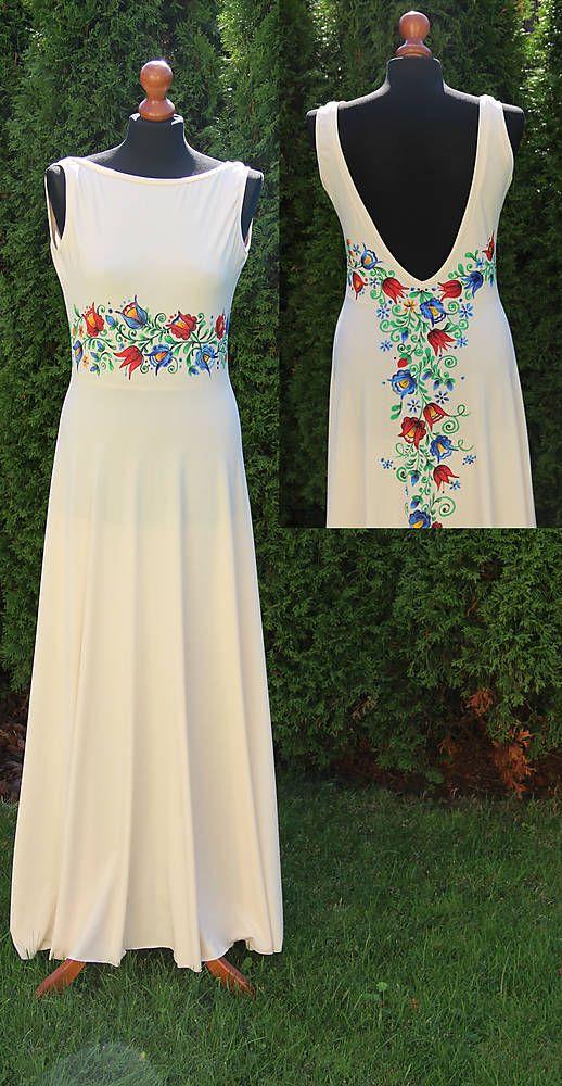 Šaty - Farebné folk vzory na dlhých smotanovo-béžových šatách... - 5863881_
