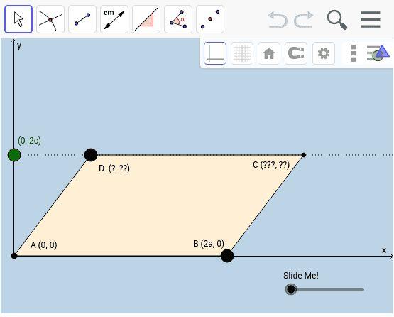 Parallelogram: Coordinate Geometry Setup - GeoGebra