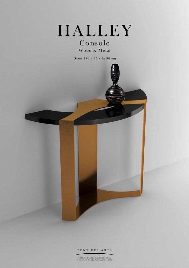 Halley Console - Pont des Arts - Brass And Wood - Designer Monzer Hammoud - Paris -