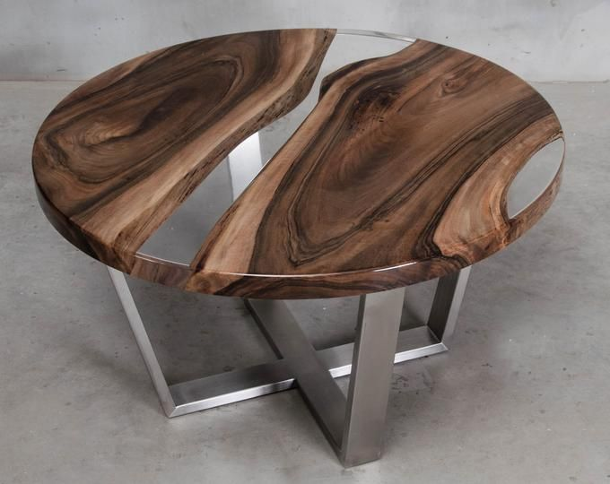Round resin coffee table made oak slabs, river coffee table, live edge end table
