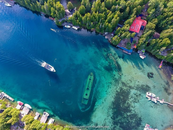 Droned The Shipwrecks in Tobermory, Ontario last weekend. : pics