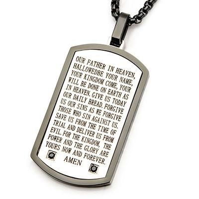 AMEN Lords Prayer Stainless Steel CZ Stones Mens Dog Tag Necklace