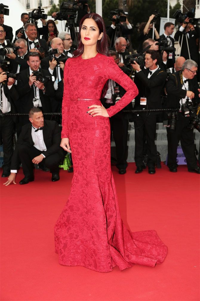 Katrina at Cannes film festival 2015, Katrina in a fire engine red brocade dress