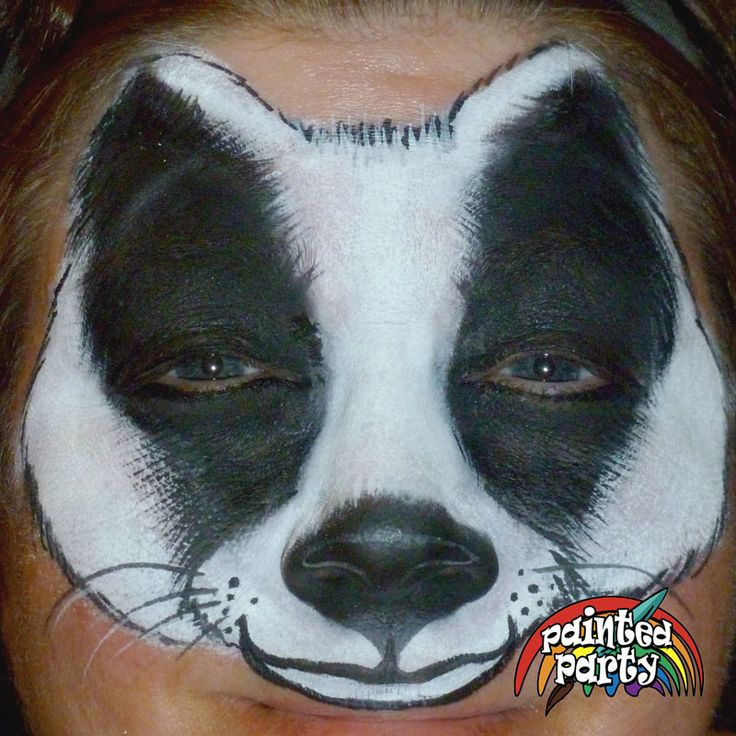 Badger Design by Denise Cold of Painted Party Face Painting www.PaintedParty.com using Starblends White and Black with rake brush fur effects. Design ends at lip line.