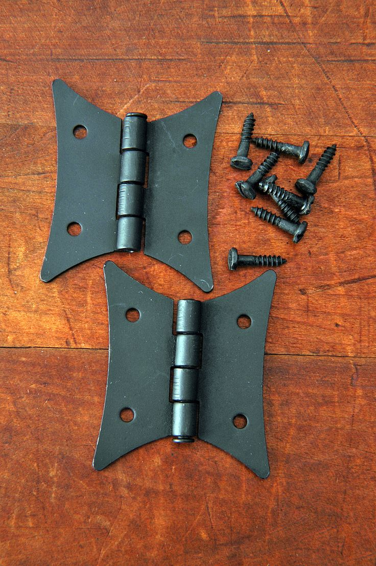 """Butterfly Hinges Cabinet Door Furniture Hinge Forged Iron 2-1/4"""" X 2"""" Black VH03071601"""