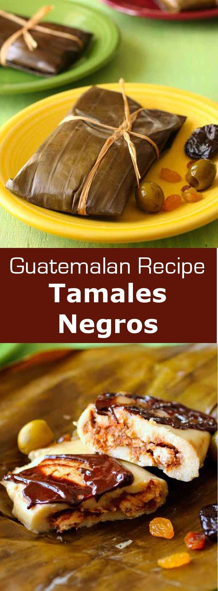 Tamales negros are banana leaf wrapped tamales with mole sauce traditionally prepared for Christmas in Guatemala. #guatemala #latincuisine #196flavors