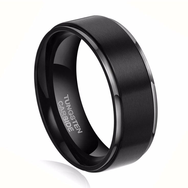 1pc8mm Black Brush 100% Carbide Tungsten Ring Men Fashion Rings Jewelry Wedding Engagement Band anelli uomo anel masculino preto