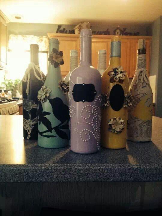 Wine bottle art diy decor