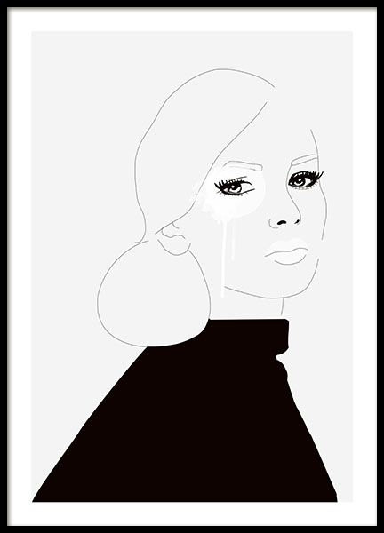 Esthetic and decorative poster with an illustration of a woman this poster looks great by · black and white