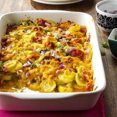 Mild-flavored yellow squash gets a big boost from flavor-packed chilies, jalapenos and red onion. This side dish also works with zucchini. | Tex-Mex Summer Squash Casserole Recipe from Taste of Home