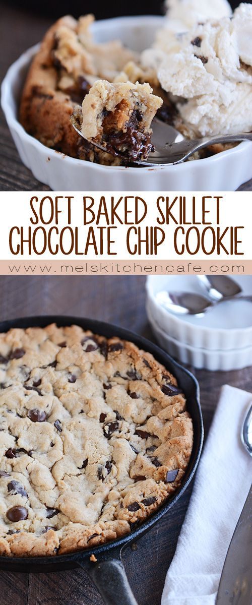 Soft Baked Skillet Chocolate Chip Cookie {Egg-Free}
