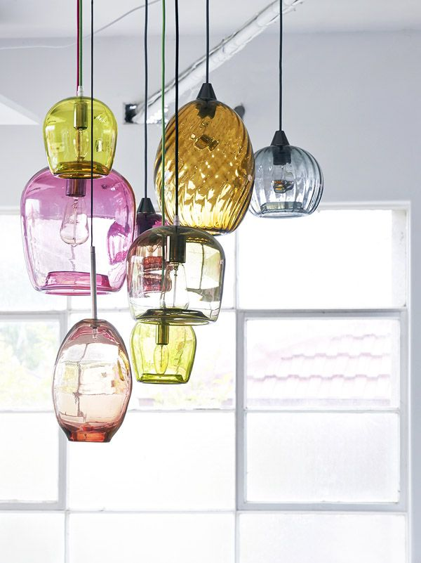 Excellent way to bring vibrant energy into your home decor, love it (for the right home, of course!) // Colorful glass blown pendant lights via The Design Files