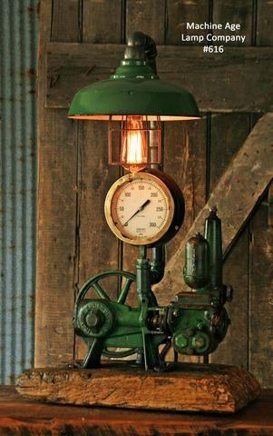 Antique Steampunk Industrial Steam Gauge lamp, Well Pump #616