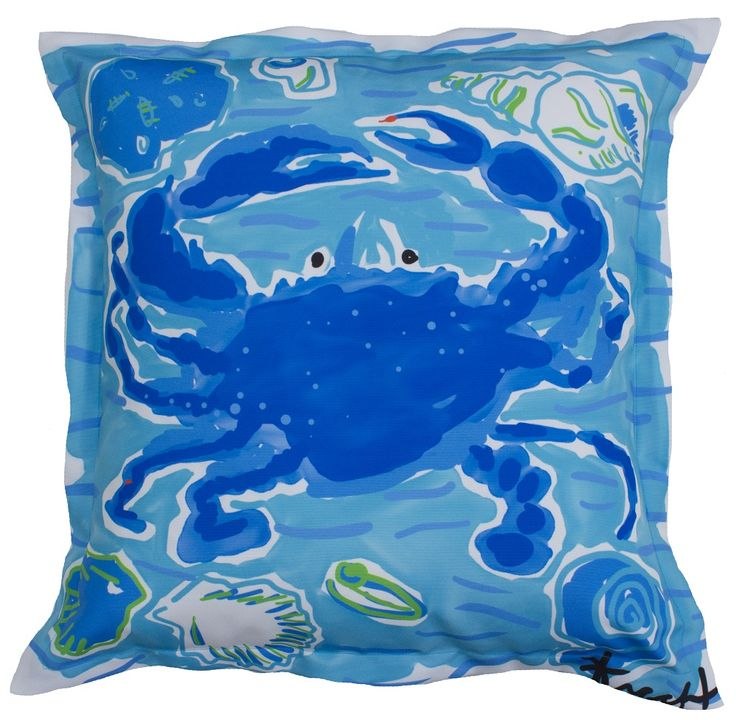 Blue Crab Indoor Outdoor Pillow by Artist, Kelly Tracht