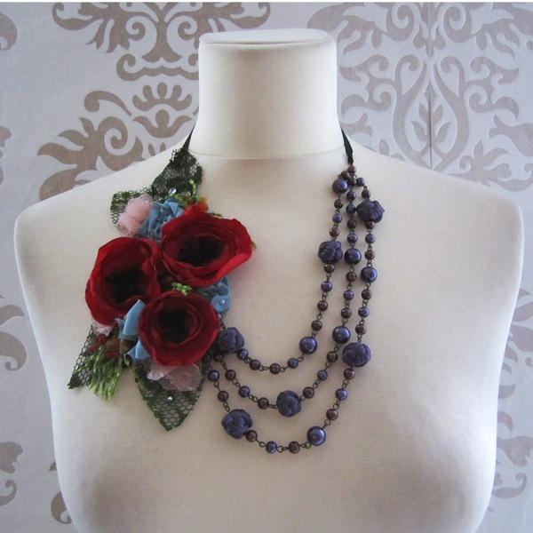 Collier Coquelicot Fleur Perle Soie Textile