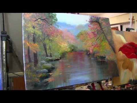 Пишем осенний пейзаж, отражение в реке, техника мастихином