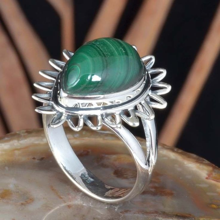 925 SOLID STERLING SILVER NEW STONE MALACHITE FANCY RING 4.84g DJR11445 SZ-7 #Handmade #Ring