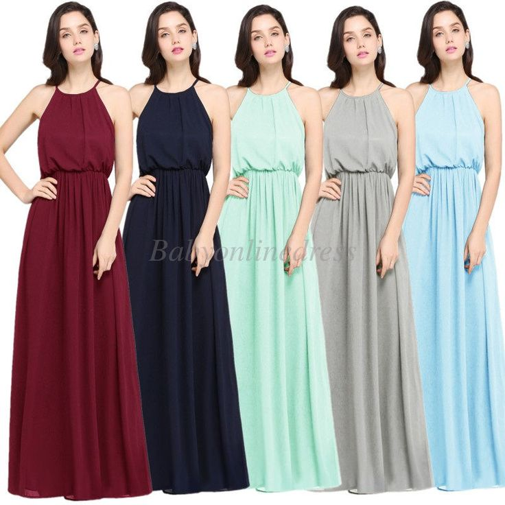 Long Summer Chiffon Halter Evening Party Beach Dress Casual Bridesmaid Prom Gown #Babyonlinedress #BeachDress #weddingPromPartyFamilygatheringorFormal