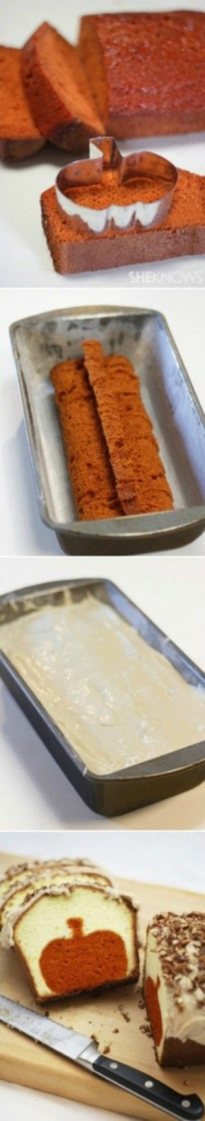 pumpkin bread cut out with cookie cutter in the middle, pound cake backed around the outside.