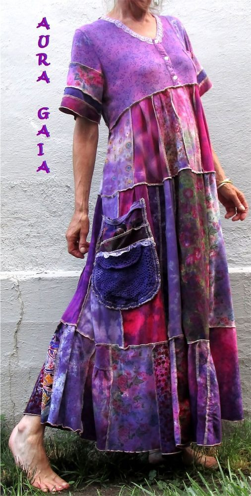 AuraGaia Poorgirl's Boho Upcycled OverDyed Patchy Garden Dress fits M-1X PLUS | Clothing, Shoes & Accessories, Women's Clothing, Dresses | eBay!