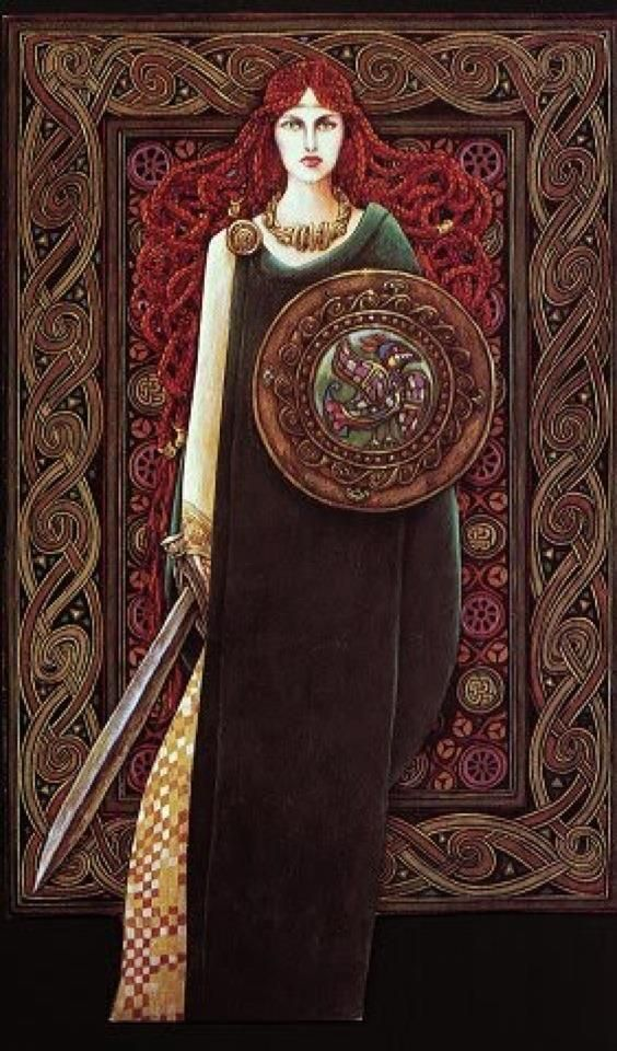 Scathach (skah-thahgh), the warrior-woman risen to divinity, is the Gaelic goddess of the dead, those slain in battle and the passage of the dead to Tir Nan Og. Once mortal, she was touched by the Tuatha de Dannan in a way usually only seen in the Sidhe. In her duties, she is similar to the Valkyrie of the Norse.