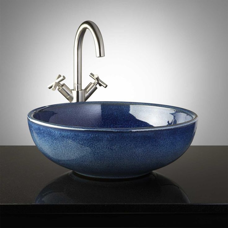 Deep Blue Glass Vessel Sink Vessel Sinks Bathroom