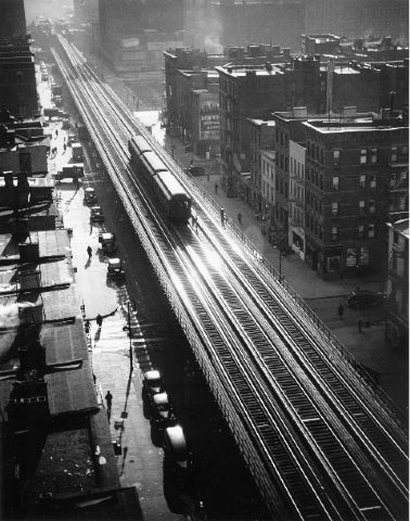 Elevated Train, 9th Ave, 1940 by Andreas Feininger from Bonni Benrubi Gallery