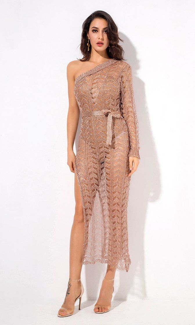 1768752f3c Having It My Way Rose Gold One Shoulder Long Sleeve Sheer Mesh Cut Out High  Slit Casual Maxi Dress