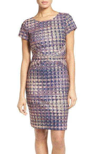 Ellen Tracy Tweed Print Ponte Sheath Dress available at #Nordstrom
