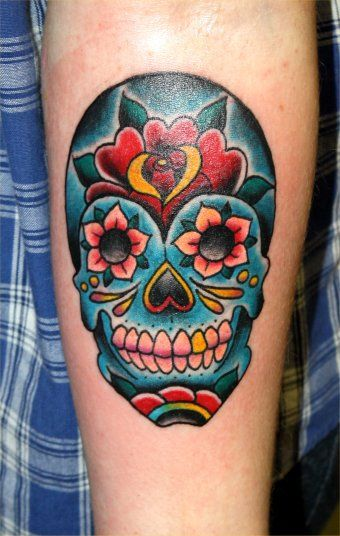 sugarskull tattoo blue - Google-haku