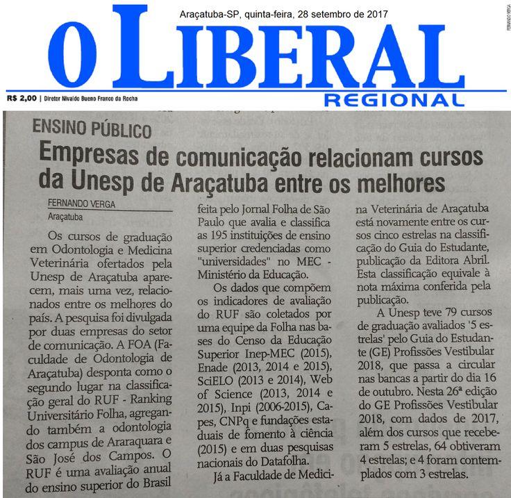 Empresas de comunicação relacionam cursos da Unesp de Araçatuba entre os melhores. Fonte: O Liberal Regional