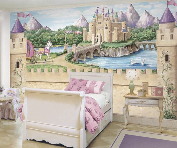 Details about fairy princess castle wallpaper mural w for Disney princess wall mural