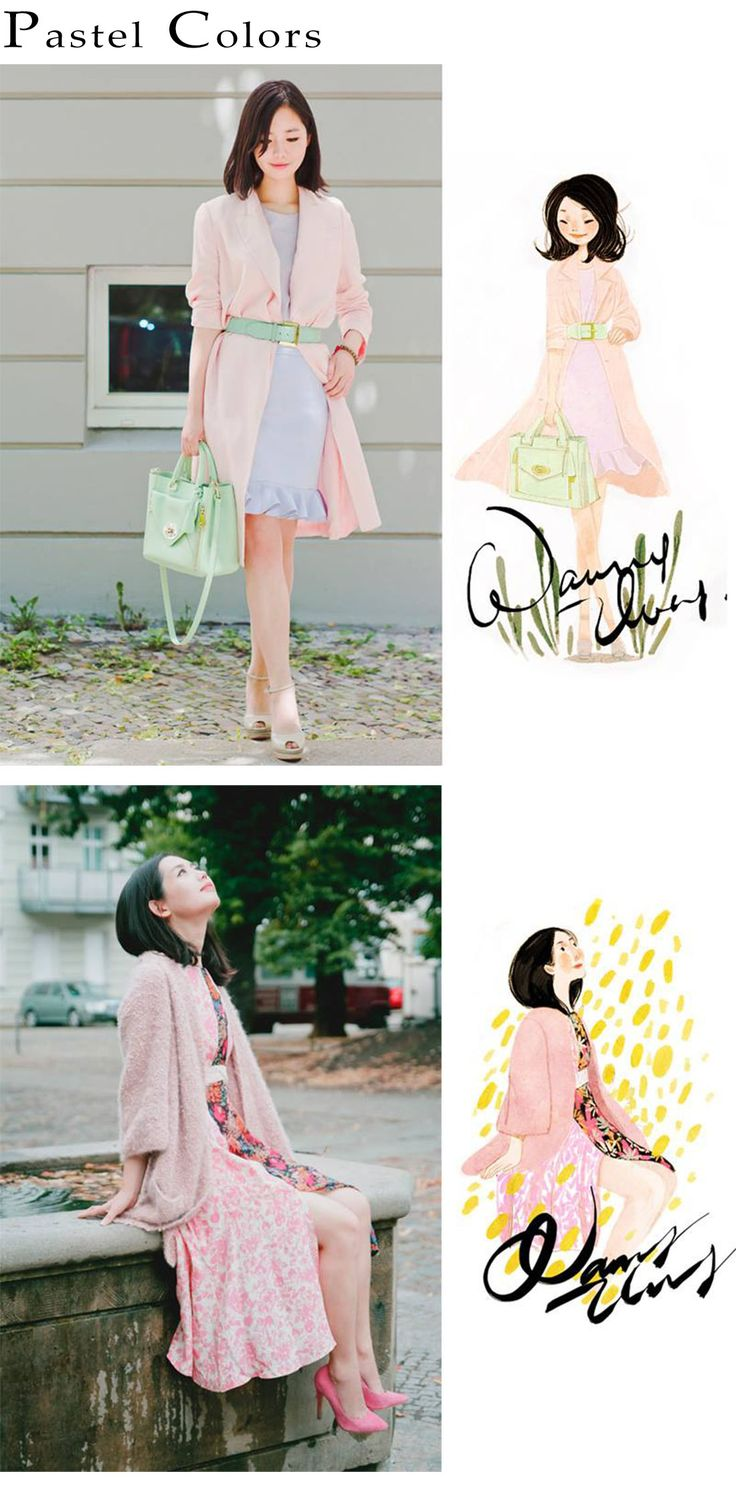 Nancy Zhang's pastel color fashion illustrations