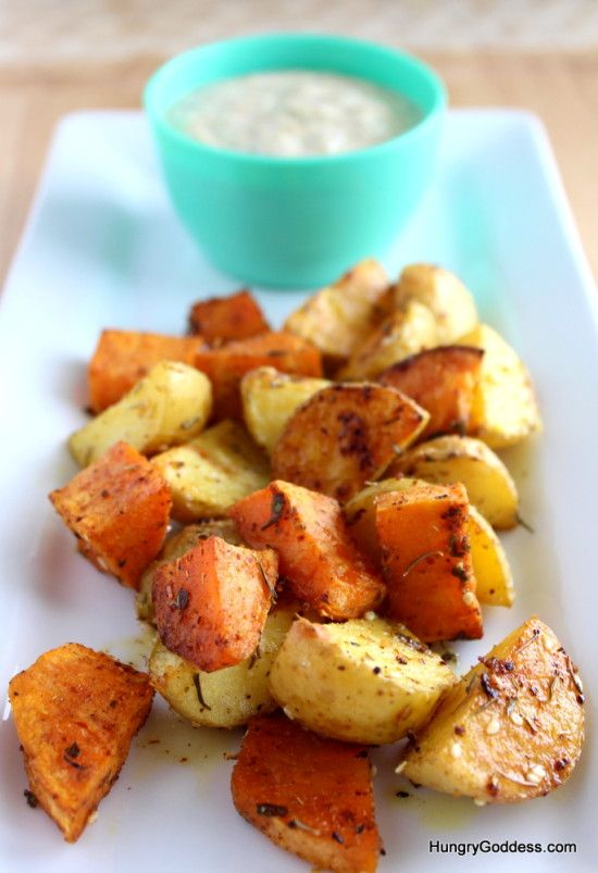 Herb Roasted Potatoes with Dill Pollen Yogurt Dip Recipe