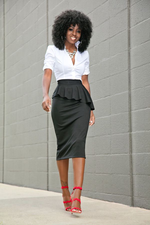 Style Pantry   Fitted Button Down + Frill Peplum Skirt