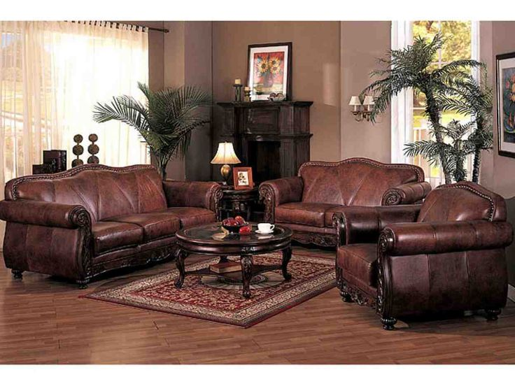 Captivating Brown Leather Living Room Set