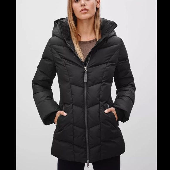 MACKAGE HOODED QUILTED PUFFER BLACK JACKET. SIZE M MACKAGE  -Condition: Brand new without tags attached. -Item has never been worn. -Size: MM. -Color: Black. -Detachable hood, stand collar, long sleeves, recessed rib knit cuffs. -Front zip closure with buttons. -Slit side pockets. -Quilted, leather trim. -Shell: polyester. -Fill: duck down/duck feathers. -Knit trim: wool/acrylic/spandex. -Dry clean. -Smoke Free Environment. -Retails for $550.00 -Same Day Shipping. Mackage Jackets & Coats…