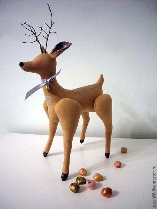 Купить Серебряное копытце. Почти по Бажову. - интерьерная игрушка, тильда, олененок, олень, олешка, бежевый