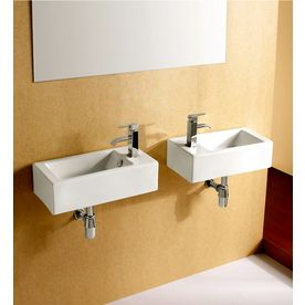 Shop Elanti White Wall-Mount Rectangular Bathroom Sink with Overflow at Lowes.com