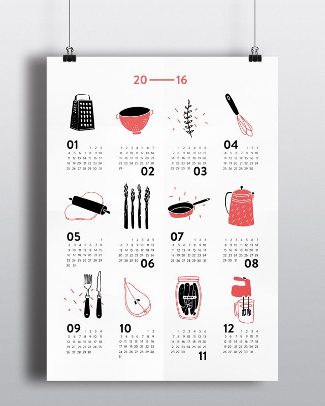 a calendar for foodies