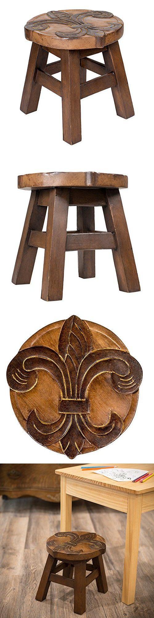 Fleur de Lis Design Hand Carved Acacia Hardwood Decorative Short Stool
