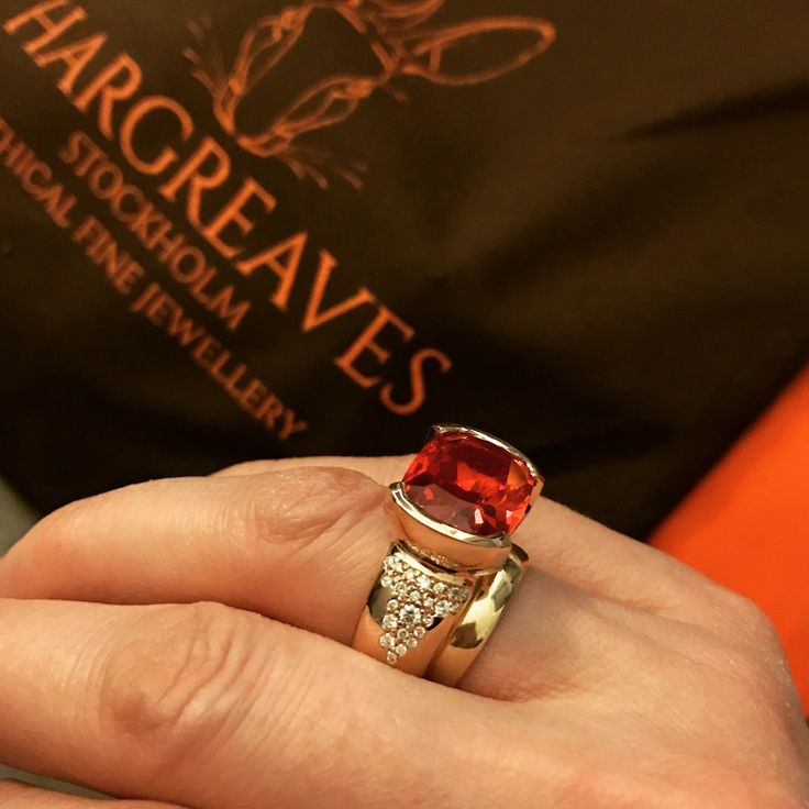 The fabulous Freyr ring. 18ct Fairmined Eco red gold set with a cultured sapphires and non mined diamonds that are created using cutting edge she mar technology for diamonds with zero carbon impact. Amazing!