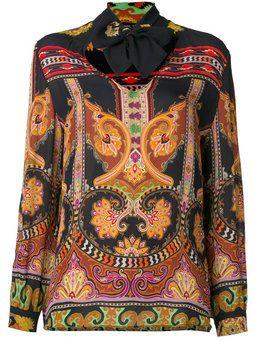 блузка с воротником с завязкой на мягкий бант