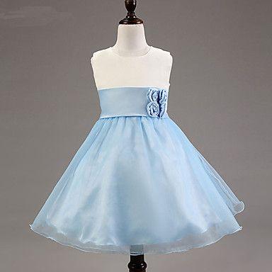 A-line Knee-length Flower Girl Dress - Satin/Tulle/Polyester Sleeveless – USD $ 24.99
