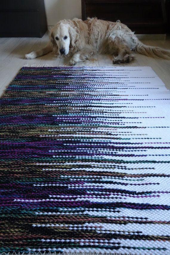 Loom woven Rug Large Rug woven rag rugs shaggy rug by LaleShopNiki