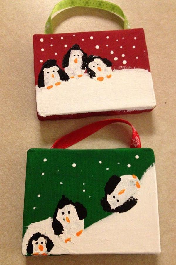 cute penguin for kids  #Family #Fingerprint #Ornament www.loveitsomuch.com