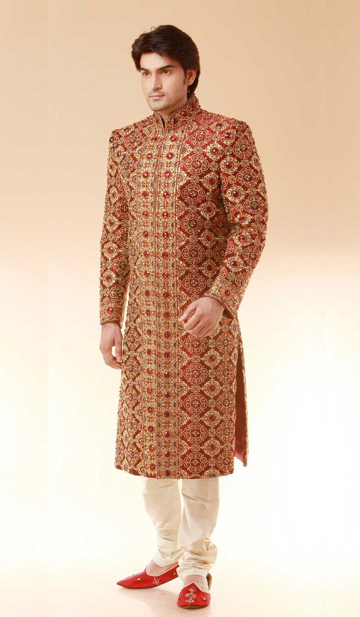 Maroon Satin Brocade Embroidered Designer Indian Wedding Sherwani
